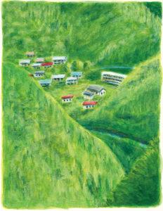 みずほ総合研究所 雑誌「Fole」1月号 内山節さんのコラム『半径5キロの経済圏 「小さいこと」が強いこと 「世界で一番いい村」を実感する』挿絵_原画